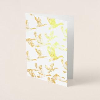 Tarjeta Con Relieve Metalizado Animales de oro de las aves acuáticas de los