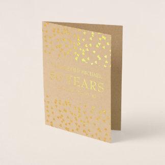 Tarjeta Con Relieve Metalizado Aniversario de oro personalizado de los corazones