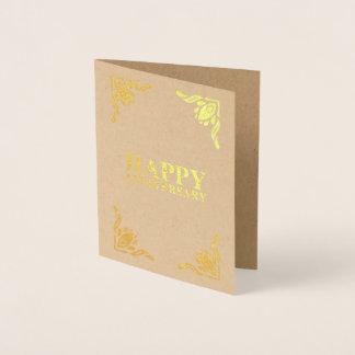 Tarjeta Con Relieve Metalizado Aniversario feliz