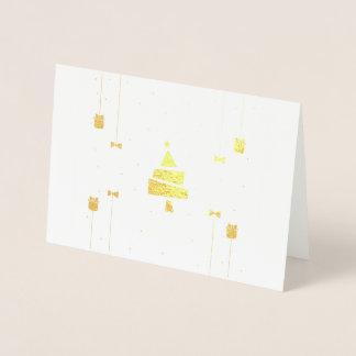 Tarjeta Con Relieve Metalizado Árbol de navidad elegante