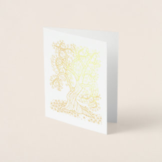 Tarjeta Con Relieve Metalizado Árbol fantástico de los corazones del bosque