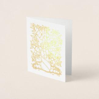 Tarjeta Con Relieve Metalizado Árbol fantástico del loro del bosque