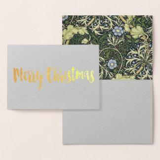 Tarjeta Con Relieve Metalizado Arte floral del vintage del modelo de la alga