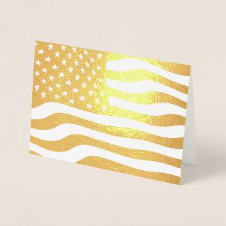 Tarjeta Con Relieve Metalizado Bandera americana los E.E.U.U. del oro
