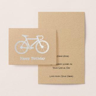 Tarjeta Con Relieve Metalizado Bicicleta metálica - tema de ciclo de la plata o