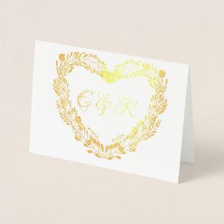 Tarjeta Con Relieve Metalizado Boda floral real de la guirnalda del corazón del