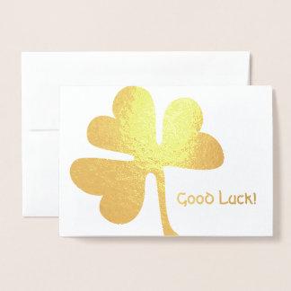 Tarjeta Con Relieve Metalizado ¡Buena suerte! oro irlandés del trébol del |