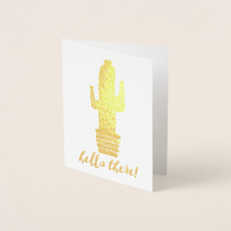 Tarjeta Con Relieve Metalizado ¡Cactus hola allí!