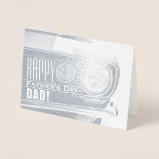 Tarjeta Con Relieve Metalizado Coche clásico feliz del papá el | del día de