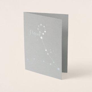 Tarjeta Con Relieve Metalizado Constelación del zodiaco de Piscis del efecto