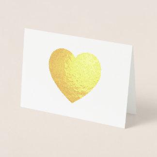 Tarjeta Con Relieve Metalizado Corazón del efecto metalizado de oro