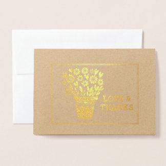 Tarjeta Con Relieve Metalizado Corazones y centro de flores enmarcado