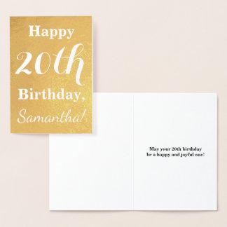 Tarjeta Con Relieve Metalizado Cumpleaños básico del efecto metalizado de oro