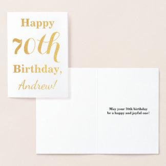 Tarjeta Con Relieve Metalizado Cumpleaños simple del efecto metalizado de oro
