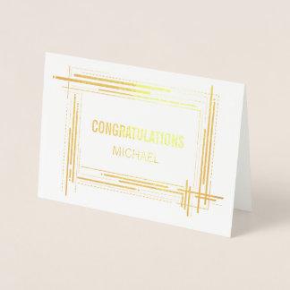 Tarjeta Con Relieve Metalizado De moda moderno de la enhorabuena general
