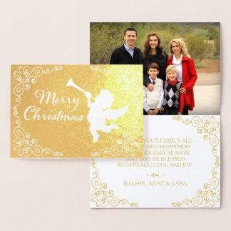 Tarjeta Con Relieve Metalizado De oro de las Felices Navidad personalizada