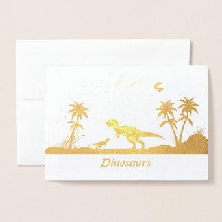 Tarjeta Con Relieve Metalizado Dinosaurio debajo de las estrellas