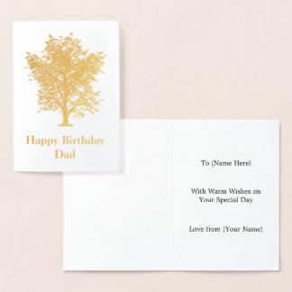 Tarjeta Con Relieve Metalizado Diseño de oro del árbol de ceniza - varón elegante