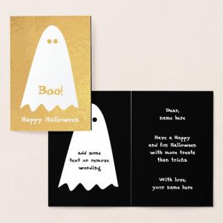 Tarjeta Con Relieve Metalizado Diseño del fantasma de la diversión para los niños