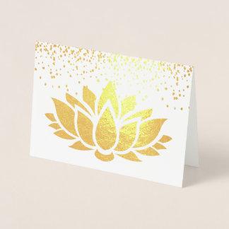 Tarjeta Con Relieve Metalizado Diseño floral REAL del loto del efecto metalizado