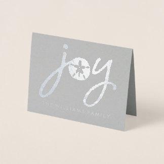 Tarjeta Con Relieve Metalizado Dólar de arena de plata de las Felices Navidad el