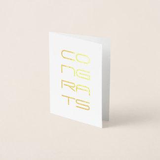 Tarjeta Con Relieve Metalizado efecto metalizado de oro de los congrats