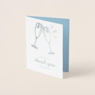 Tarjeta Con Relieve Metalizado El boda azul elegante del efecto metalizado de