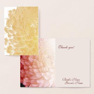 Tarjeta Con Relieve Metalizado El boda del crisantemo del rosa del efecto