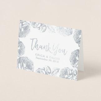 Tarjeta Con Relieve Metalizado El boda floral de plata moderno le agradece
