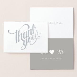 Tarjeta Con Relieve Metalizado el efecto metalizado de plata le agradece boda con