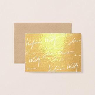 Tarjeta Con Relieve Metalizado Escritores de las mujeres - oro