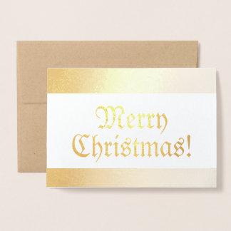 Tarjeta Con Relieve Metalizado Felices Navidad brillantes pasadas de moda