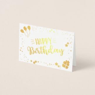 Tarjeta Con Relieve Metalizado Feliz cumpleaños