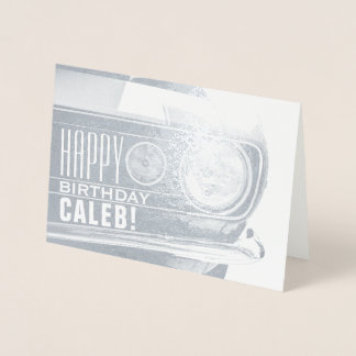 Tarjeta Con Relieve Metalizado Feliz cumpleaños - CUALQUIE nombre - coche clásico