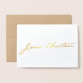 Tarjeta Con Relieve Metalizado Firma de Jane Austen - oro