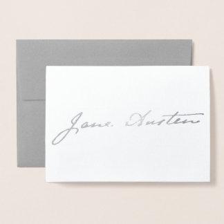 Tarjeta Con Relieve Metalizado Firma de Jane Austen - plata
