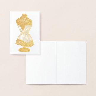 Tarjeta Con Relieve Metalizado Forma del vestido del vintage con el corsé, efecto