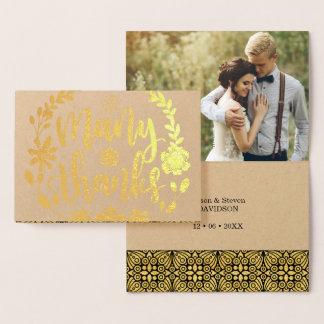 Tarjeta Con Relieve Metalizado Foto con guión del boda del texto del efecto