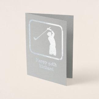 Tarjeta Con Relieve Metalizado Golf el gráfico de plata del tema con la foto/el