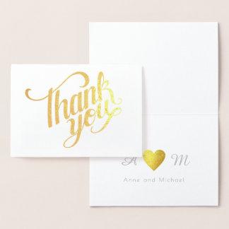 Tarjeta Con Relieve Metalizado gracias boda con monograma
