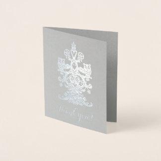 Tarjeta Con Relieve Metalizado Gracias los búhos reales de plata grises nobles