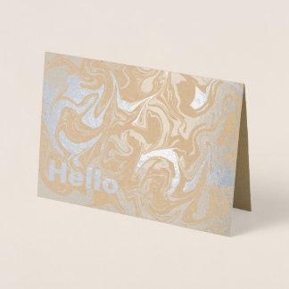 Tarjeta Con Relieve Metalizado Hola plata veteada extracto del interior del