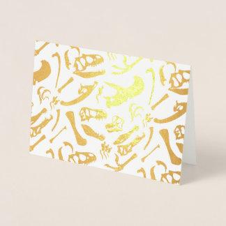 Tarjeta Con Relieve Metalizado Huesos de dinosaurio (oro)