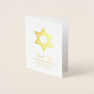 Tarjeta Con Relieve Metalizado La condolencia judía le agradece estrella de