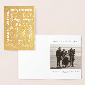 Tarjeta Con Relieve Metalizado La tipografía del navidad del oro del día de