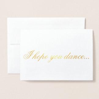 Tarjeta Con Relieve Metalizado Le espero danza