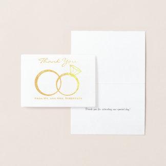 Tarjeta Con Relieve Metalizado Los anillos de bodas le agradecen