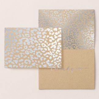 Tarjeta Con Relieve Metalizado Los puntos de plata del leopardo de PixDezines le