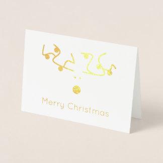 Tarjeta Con Relieve Metalizado luces elegantes de Rudolph de las Felices Navidad