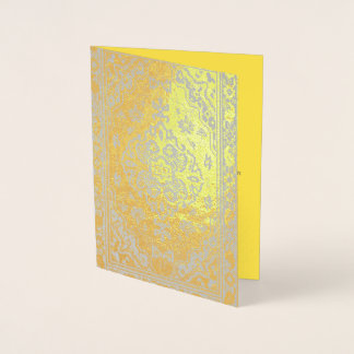 Tarjeta Con Relieve Metalizado Mirada de la alfombra persa en oro